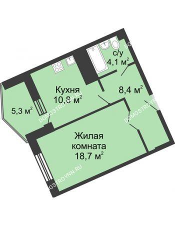 1 комнатная квартира 47,3 м² в ЖК Монолит, дом № 89, корп. 3