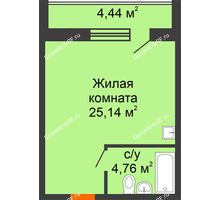 Студия 29,9 м² в ЖК Изумрудный, дом 14 этап - планировка