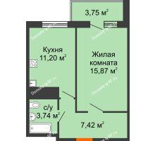 1 комнатная квартира 39,39 м² в ЖК Галактика, дом Литер 1 - планировка