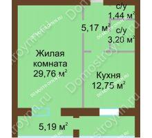 1 комнатная квартира 57,51 м² - ЖК Любимый