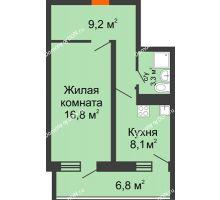 1 комнатная квартира 40,8 м² в ЖК Звезда Столицы, дом Литер 4 - планировка