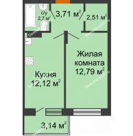 1 комнатная квартира 35,44 м² в ЖК Мандарин, дом 2 позиция 5-8 секция - планировка
