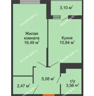 1 комнатная квартира 40,07 м² в ЖК Семейный парк, дом Литер 2 - планировка