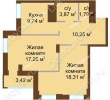 2 комнатная квартира 64,58 м² в ЖК Подкова на Панина, дом № 7, корп. 6 - планировка