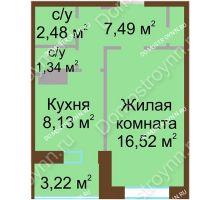 1 комнатная квартира 37,59 м², Жилой дом Каскад на Даргомыжского - планировка
