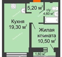 1 комнатная квартира 39,6 м² в ЖК Европейский квартал, дом ГП 3 - планировка