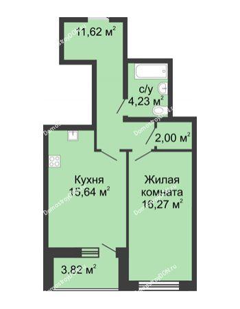 1 комнатная квартира 53,58 м² в ЖК Тихий Дон, дом № 2
