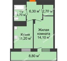 1 комнатная квартира 43,4 м², ЖК Корица - планировка