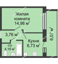 1 комнатная квартира 32,7 м², ЖК Волжский-Берег - планировка