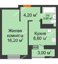 1 комнатная квартира 34,3 м² в ЖК Подкова на Цветочной, дом № 7 - планировка