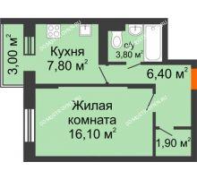 1 комнатная квартира 36,9 м² в ЖК Жюль Верн, дом № 1 корпус 1 - планировка