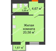 Студия 28,86 м² в ЖК Мечников, дом ул. Таврическая, 4 - планировка