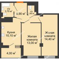 2 комнатная квартира 51,9 м² в ЖК Грин Парк, дом Литер 2 - планировка