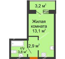 Студия 21,4 м² в ЖК Самолет 2, дом Литер 4 - планировка