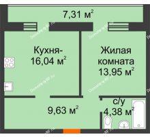 1 комнатная квартира 47,66 м² в Микрорайон Дон, дом ул.Генерала Круковского,д.5 - планировка