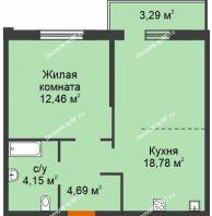 1 комнатная квартира 43,37 м² в ЖК Романтики, дом Милан - планировка