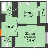 1 комнатная квартира 45 м², ЖК Космолет - планировка