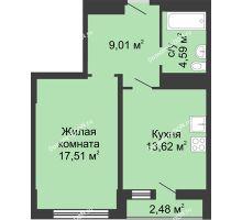 1 комнатная квартира 47,21 м² в ЖК Военвед-Сити, дом № 2 - планировка