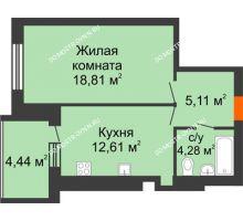 1 комнатная квартира 43,03 м² в ЖК Свобода, дом 1 очередь - планировка