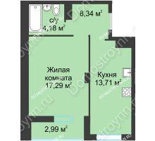 1 комнатная квартира 42,85 м² в ЖК На Вятской, дом № 3 (по генплану)