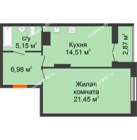 1 комнатная квартира 50,96 м² в ЖК Рассвет, дом № 4 - планировка