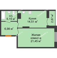 1 комнатная квартира 50,96 м² в ЖК Рассвет, дом № 7 - планировка