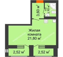 Студия 33,37 м² в ЖК Москва Град, дом 61 - планировка