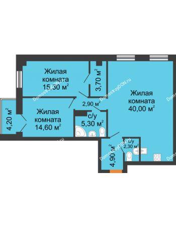 3 комнатная квартира 91,5 м² - ЖК Дом на 18-й Линии, 3