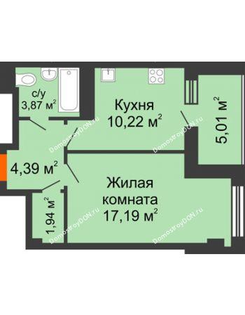 1 комнатная квартира 42,62 м² - ЖК Площадь Ленина