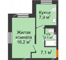 1 комнатная квартира 34,6 м² в ЖК Жюль Верн, дом № 1 корпус 2