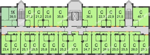 ЖК Красный дом - планировка 5 этажа