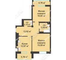 2 комнатная квартира 77,34 м² в ЖК Воскресенская слобода, дом №1 - планировка