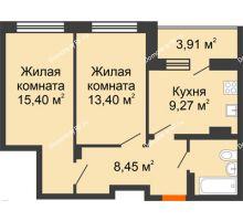 2 комнатная квартира 54,71 м², ЖК Галактика - планировка