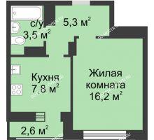 1 комнатная квартира 34,1 м² в ЖК Аквамарин, дом №2
