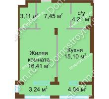 1 комнатная квартира 46,28 м² в ЖК Сердце Нижнего, дом № 36 - планировка