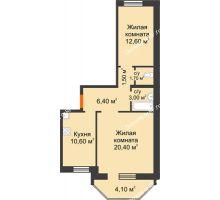 2 комнатная квартира 57,67 м², ЖК Сэлфорт - планировка