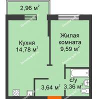 1 комнатная квартира 34,31 м² в ЖК Романтики, дом Милан - планировка
