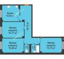 3 комнатная квартира 85,1 м² в ЖК Ясный, дом № 10 - планировка