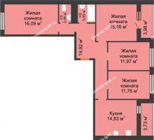 4 комнатная квартира 97,24 м² в ЖК Новая Самара, дом № 44 - планировка