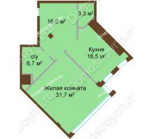 1 комнатная квартира 74,8 м², ЖК Бояр Палас - планировка