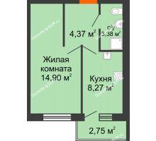 1 комнатная квартира 32,3 м² в ЖК Артемовский квартал, дом Секция 4 - планировка