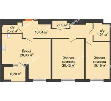 2 комнатная квартира 92,07 м² в ЖК Россия. Пять Столиц, дом 3 Этап - планировка