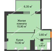 1 комнатная квартира 35,9 м² в ЖК Грин Парк, дом Литер 1 - планировка