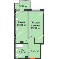 1 комнатная квартира 39,63 м² в ЖК Сердце Ростова 2, дом Литер 8 - планировка