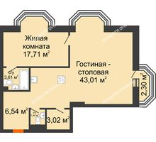 2 комнатная квартира 76,02 м², ЖК Дом на Гребешке - планировка