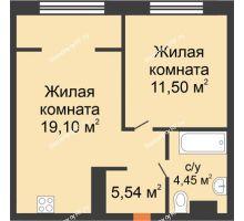 """2 комнатная квартира 40,56 м² в ЖК Европейский берег, дом ГП-9 """"Дом Монако"""" - планировка"""