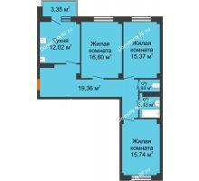 3 комнатная квартира 85,66 м² в ЖК Ясный, дом № 10 - планировка