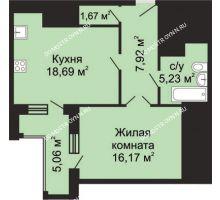 1 комнатная квартира 52,21 м², ЖК Гелиос - планировка