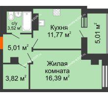 1 комнатная квартира 45,52 м², ЖК Площадь Ленина - планировка