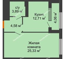 1 комнатная квартира 48,54 м², ЖК Гран-При - планировка